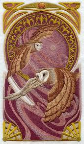 ART NOUVEAU BARN Owl Machine Embroidered Quilt Blocks Azeb & Description.
