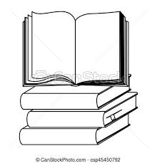 silhouette set stack books with open book csp45450792