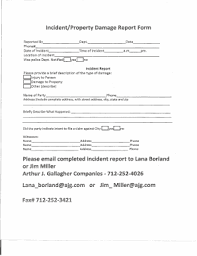Fillable Online Incident Property Damage Report Form South