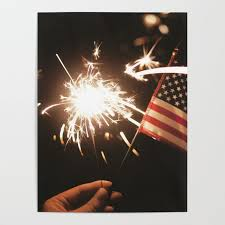 American Celebration On July 4th With Sparklers Flags And Fireworks Poster By Highdesign