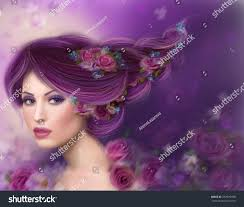 Purple Hair Style illustration beautiful fantasy fairy woman purple stock 5182 by wearticles.com