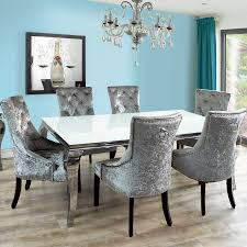 fadenza white glass dining table and 6 silver chairs with grey dining room table and chairs
