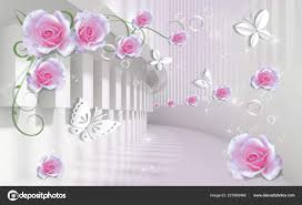 Background Pink Roses Paper Butterflies ...