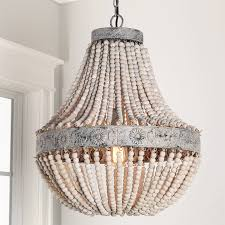 unique chandelier lighting. Aged Wood Beaded Chandelier White Unique Lighting R