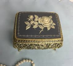 Sankyo national artcraft music box musical movement with key plays jesus loves me (pkg/1). Vintage Gold Tone Footed Music Box Westland Sankyo With Faux Blue Alabasterwedgwood Style Rose Music Box Vintage Gold Vintage Love