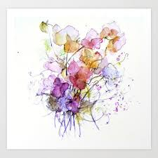sweet flowers watercolour art print