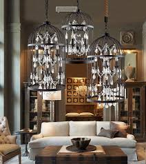 american country european retro iron cage crystal regarding popular house chandelier in a cage ideas