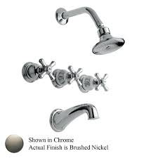 3 handle shower faucet brushed nickel two 2 1 spray in valve single tub and porter shower fixtures brushed