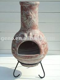 ceramic chiminea outdoor fireplace mexican