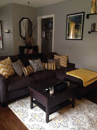 dark furniture living room. Grey And Yellow Living Room With Dark Couch Possible Chocolate Color Mix Of Taupe Furniture