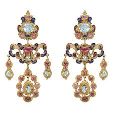 gem set and enamel chandelier earrings accented by vari shaped faceted aquamarines cabochon cut pink tourmalines seed pearls and blue enamel