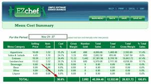 inventory software in excel ezchefsoftware inventory menu costing and analysis for restaurants