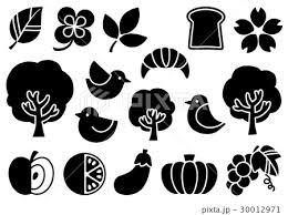 シンプルマークイラスト2黒 植物食べ物鳥のイラスト素材 30012971