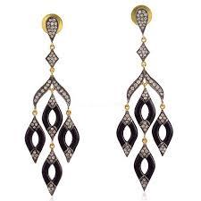 925 sterling gold plated pave diamond enamel designer chandelier earrings