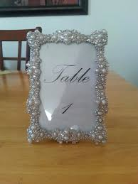 table number frames silver and pearl rhinestone jeweled sparkle table number frames reception decoration baroque table table number frames