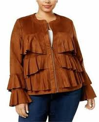 Details About Anna Sui Loves Inc International Concepts Plus Size Ruffled Faux Suede Jacket