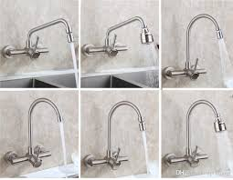modern bathroom wall mounted kitchen sink faucet swivel spout sprayer mixer stainless steel 304 brushed nickel basin tap single handle kitchen sink faucet