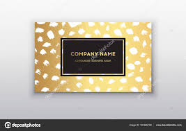 vector gold business card templates with brush stroke background vector design concept for stylist makeup artist photographer