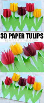 Paper Flower Crafts For Kindergarten Gorgeous 3d Paper Tulip Flower Craft Kevad Flower Crafts Spring