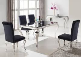 table and chairs for sale. louis chrome and black gloss table + 4 chairs rrp £1959 now £979 table and chairs for sale r