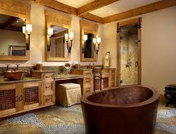 rustic stone bathroom designs. nice vessel sink vanity for your bathroom design: rustic design with ceiling beams and stone designs