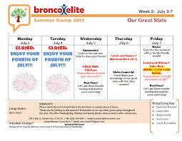 Summer Camp Weekly Schedule Weekly Summer Camp Schedule 2017 Bronco Elite Gymnastics