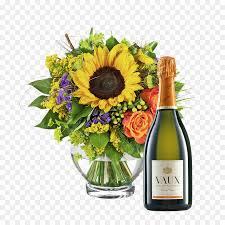 букет цветов, день рождения, шампанское