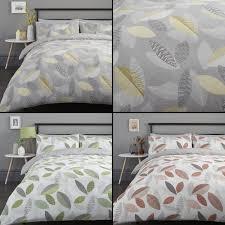 details about tazio leaves duvet quilt cover bedding set grey orange green