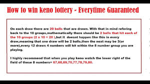 Ontario Daily Keno Frequency Chart How To Win Keno Lottery Everytime Guaranteed 2017
