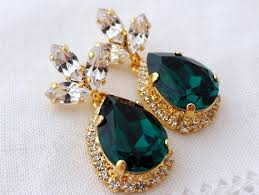 emerald green chandelier earrings drop earrings bridal earrings dark green dangle earrings weddings jewelry halo swarovski earring