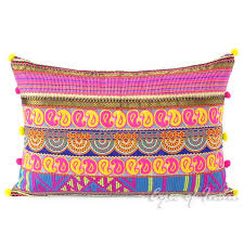 pink and yellow moroccan lumbar bolster colorful boho sofa throw couch pillow cushion cover 16 x 24