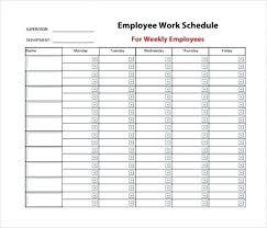 Free Printable Work Schedule Template Blank Weekly Work