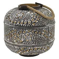 12 inch round metal lantern with black