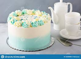 Simple Baby Shower Or Baptism Cake Stock Photo Image Of Nobody
