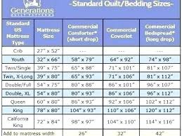 Bedspread Sizes Chart Full Size Quilt Size Antitobac Co