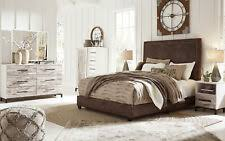White rustic bedroom furniture Black White Wood Dante 5pcs Modern Rustic White Brown Fabric Queen King Bedroom Furniture Set Ebay King White Rustic Bedroom Furniture Sets Ebay