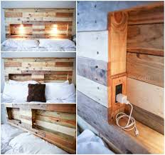 Bed Frame Made Of Pallets And Lights Pallet Headboard With Integrated Lights Diy Pallet Bed