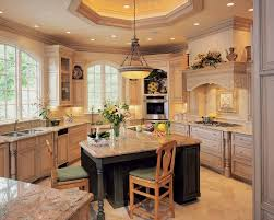 Rustic Kitchen Area With 2 Pieces Wooden Seating Small Kitchen Island,  Brown Granite Countertop Design
