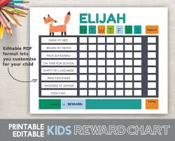 Download Reward Chart Reward Chart Printable Fox Woodland Boys Reward Chart Fillable Editable 8 5x11 Pdf Instant Download Chore Chart Behavior Chart Routine Chart