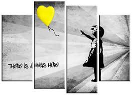 image is loading extra large banksy girl amp yellow balloon canvas  on yellow and grey wall art canvas with extra large banksy girl yellow balloon canvas picture yellow grey