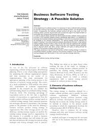 Pdf Business Software Testing Strategy A Possible Solution