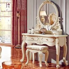 luxury french style ss dresser makeup dressing table with mirror vanity set