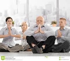 meditation office. Businesspeople Doing Meditation In Office L