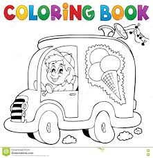 coloring book ice cream man in car stock vector ilration of refresh drawing