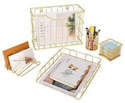 Superbpag Office 5 In 1 Desk Organizer Set Gold Letter Sorter Pencil Holder Stick Note Holder Hanging File Organizer And Letter Tray