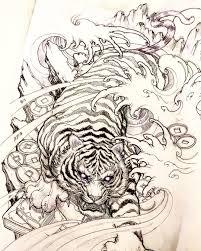 Tiger Sketch Tiger Sketch Illustration Drawing Irezumi Tattoo