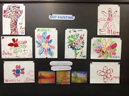 Dot Art- We used q-tips to paint flowers and trees. They first
