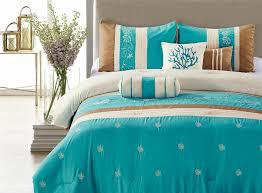 blue coast 7 piece embroidered comforter set blue brown