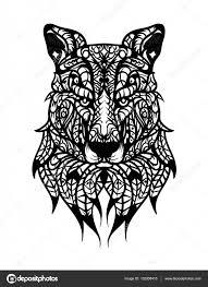 Wolf Handgetekende Hoofd Met Etnische Doodle Patroon Kleurplaat