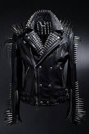 punk style full black biker long spikes studded leather jacket